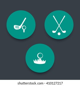 Golf, golf clubs, ball on grass, 3 green round icons, vector illustration