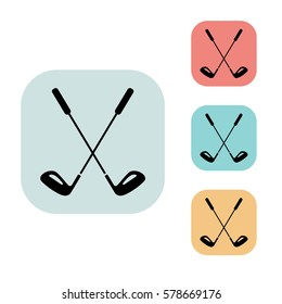 Golf clubs icon isolated vector sign symbol, on blue, red, yellow background. Sports Equipment elements icons. Can be used in logo, UI and web design