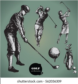 Golf. Collection of an hand drawn illustrations