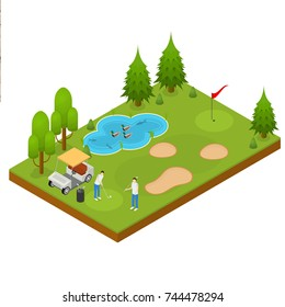 Golf Composition Concept 3d Isometric View for Web, App, Map or Game Include of Green Field, Hole, Flag and Ball. Vector illustration