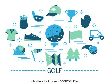 Golf concept. Idea of outdoor game and summer activity on the grass. Sport hobby. Equipment for playing such as ball and putter. Collection of colorful icons. Isolated flat vector illustration
