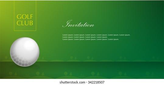 Golf course. Green. Background. Golf ball. Invitation. Vector. Template
