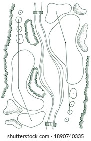 Golf course hole map vector with bunkers and river. Contour, sketch, outline of Golf Course.