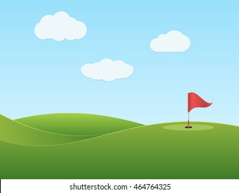 Golf course with hole and red flag. Vector illustration.