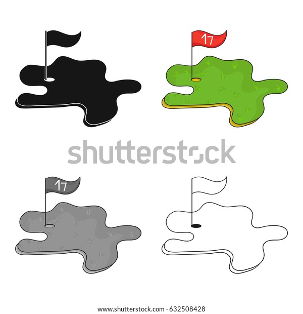 Golf course icon in cartoon style isolated on white background. Golf club symbol stock vector illustration.