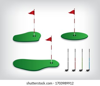 Golf course illustration on white backgrounds