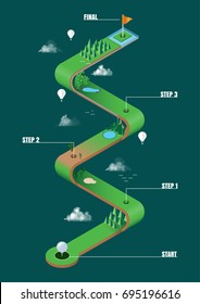 Golf course infographics step options template. vector for design workflow layout, diagram, business step, banner, web design, game map.