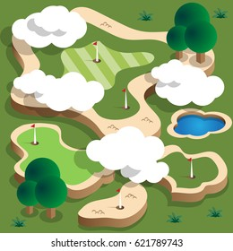 Golf course. Isometric. Vector illustration.