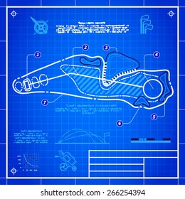 Golf course layout. Abstract design stylized blueprint technical drawing. White symbol on blue grid background