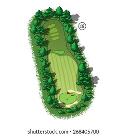 Golf course layout with trees and plants around