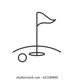 Golf course linear icon. Thin line illustration. Golf ball, flagstick in hole. Contour symbol. Vector isolated outline drawing