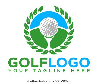 Golf course logo template with a golf ball on a tee inside a wreath of leaves. Vector illustration.