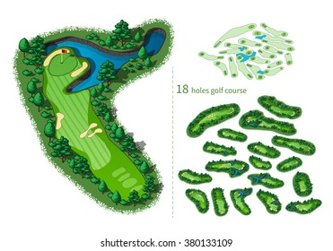 Golf course map 18 holes. Resort layout with flags trees plants water hazards. Vector map isometric illustration