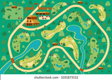 Golf course map 9 holes. Location of the resort with flags, trees and forest, water obstacles. Sport background. Vector map flat illustration.