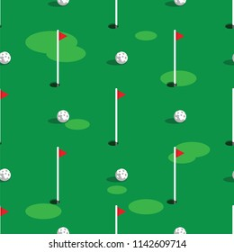 Golf course pattern background. Green grass and hole on golf field. Flags and balls on green golf course seamless pattern.