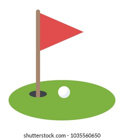Golf course with red flag and golf ball