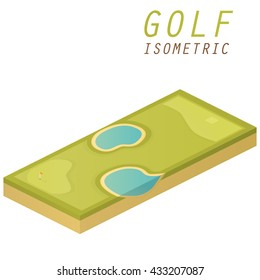 Golf course vector isometric.