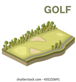 Golf course vector isometric illustration.
