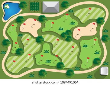 Golf course. View from above. Vector illustration.