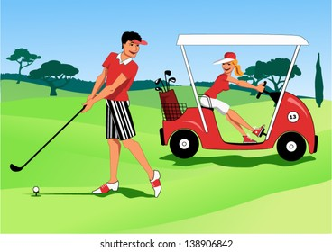 At a golf course young man hitting a ball with a club and a woman driving by in a golf cart, vector illustration