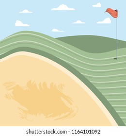 golf curse with sand trap