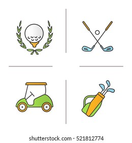 Golf equipment color icons set. Ball in laurel wreath, crossed clubs, cart and bag. Isolated vector illustrations