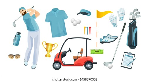 Golf equipment set logo icons sports gear for game. Golfer wearing light shirt hits ball on golf course. Golf player, bags, putter, golfer, ball, hole, course, gloves, polo shirt, cup, car vector flat