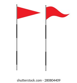 Golf equipment theme elements on isolated background. vector illustration of Red golf flag. Flags of the golf course. Illustration on white background. Golf flags