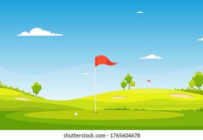 Golf Field Flag Green Grass Tree  Outdoor Sport Landscape