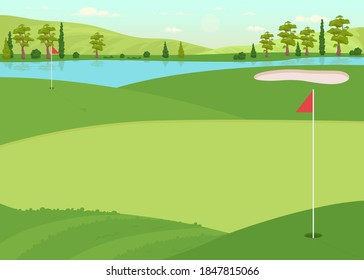 Golf field flat color vector illustration. Lawn for game competition. Hole for ball. Place for physical activity. Active lifestyle. Recreational 2D cartoon landscape with daytime sky on background