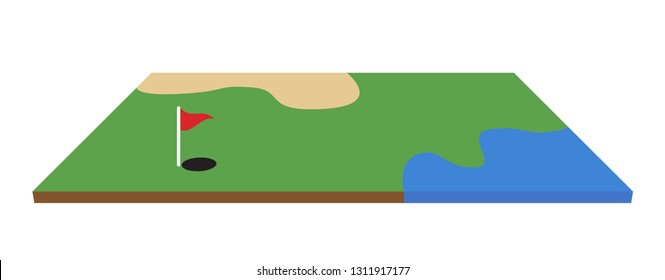 Golf field isometric vector illustration on white