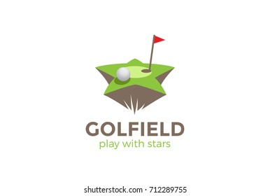 Golf field Star shape Logo design vector template. Golf club Logotype concept icon.