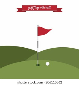 Golf flag with ball. Flat style design - vector