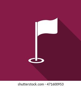 Golf flag flat icon with long shadow. Vector Illustration