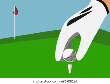 Golf flag and focus on Tee box with white ball