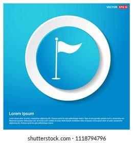 Golf Flag Icon Abstract Blue Web Sticker Button - Free vector icon