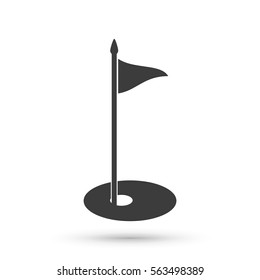 Golf flag icon. Flat vector illustration in black on white background. EPS 10