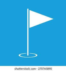 Golf flag icon. Illustration of mini golf flag with pole vector icon blue