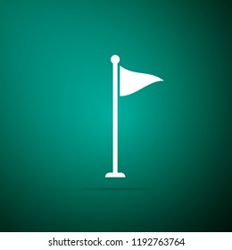 Golf flag icon isolated on green background. Golf equipment or accessory. Flat design. Vector Illustration