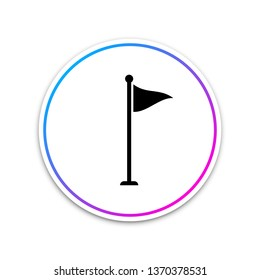 Golf flag icon isolated on white background. Golf equipment or accessory. Circle white button. Vector Illustration