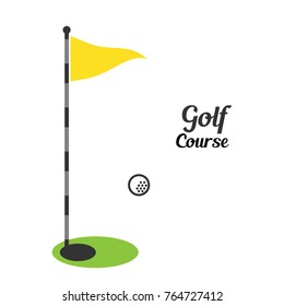 Golf flag illustration with flying golf ball can be used for golf course or tournament.vector