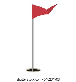 Golf flag isolated on white background. Vector illustration.