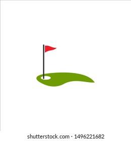 Golf Flag Logo Template. Vector Illustration Icon Design