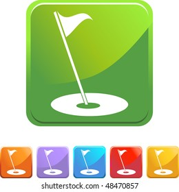 Golf flag web button isolated on a background