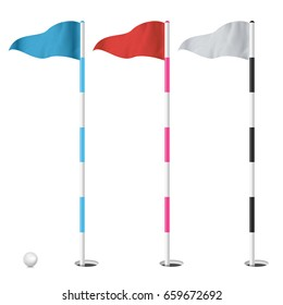 Golf Flags Vector Isolated Illustration.