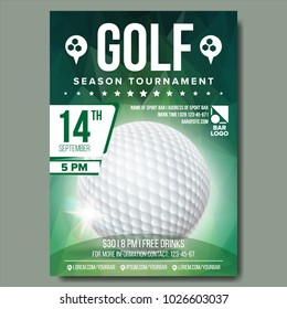 Golf Flyer, Poster Vector. Sport Event Announcement. Golf Tournament Banner Advertising. Professional League. Vertical Sport Invitation Template. Event Label Illustration