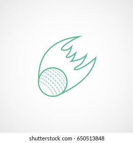 Golf Flying Fire Ball Green Line Icon On White Background