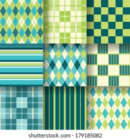 Golf fresh backgrounds. Seamless pattern background with green and blue colors. Vector illustration EPS-10. Pattern Swatches made with Global Colors - quick, simple editing of color