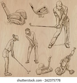 GOLF, Golfers, Golf , and Golf Equipment. Collection of an hand drawn illustrations (line art vectors - pack no.5). Each drawing comprises of three or four layers of lines, background is isolated.