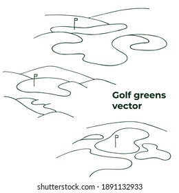 Golf greens in vector. Isolated line illustration for your design and logo. Golf course landscape.